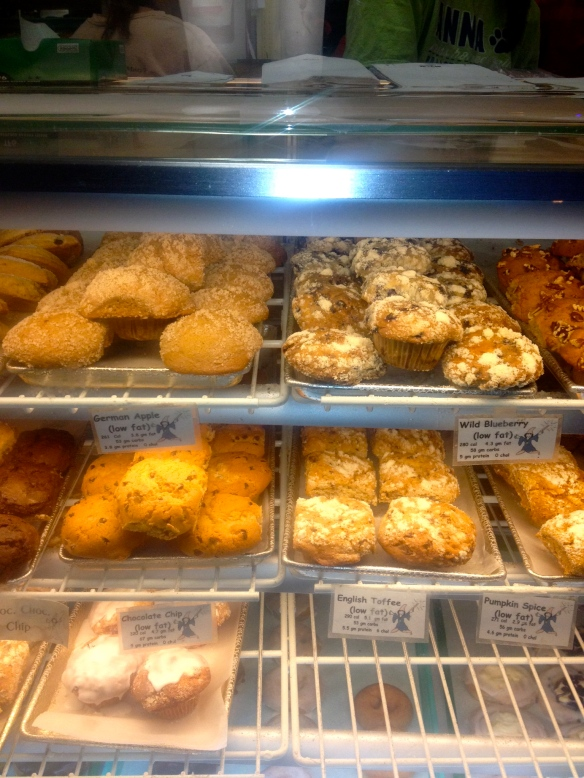shelves of muffins