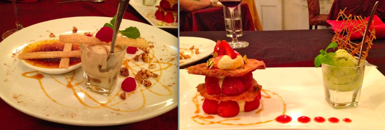 """... Mille-feuilles"""" in light vanilla cream with pistachio ice cream"""