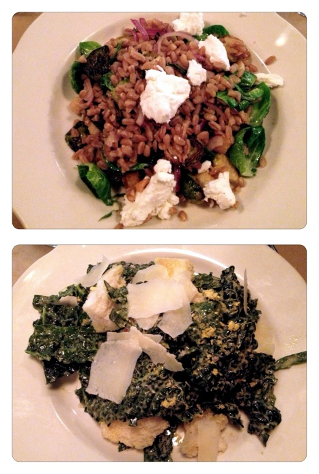 Warm Farro Salad and Tuscan Kale Salad