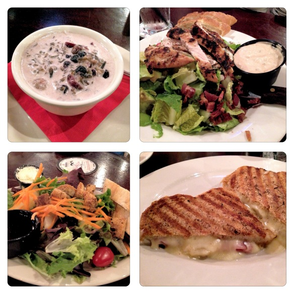 Mahnomin Porridge, House Salad, Cobb Salad, Ham and Pear Crisp Sandwich