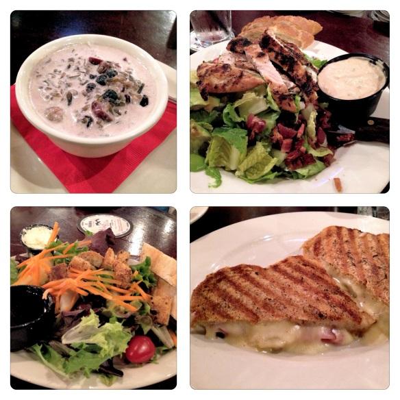 Mahnomin Porridge, House Salad, Cobb Salad, Ham and Pear Crisp Sandwich